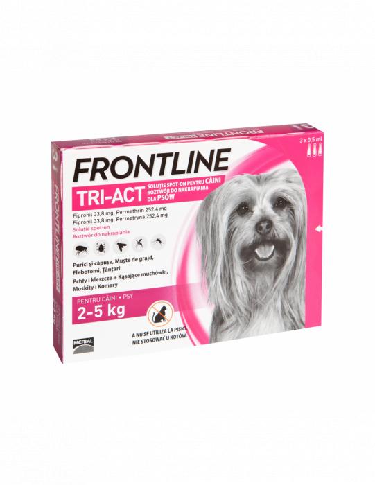 Deparazitare externa pentru caini Frontline Tri-Act XS 2-5kg cutie cu 3 pipete 0