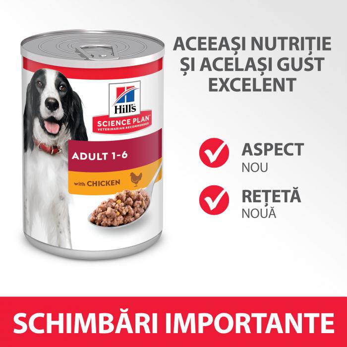 HILL'S SP ADULT  hrană pentru câini cu pui 370 g (conservă) 4