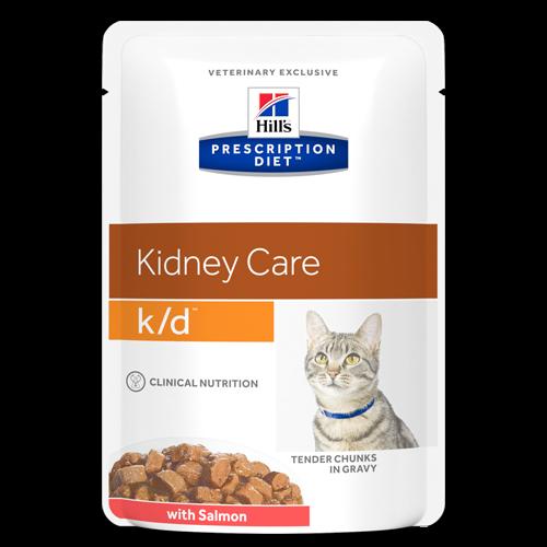 Hrană umedă dietă pentru pisici Hills Feline K/D cu somon - plic 85g 0