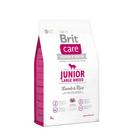 Hrana uscata caini Brit Care Junior Large Breed Miel si Orez 3kg 0