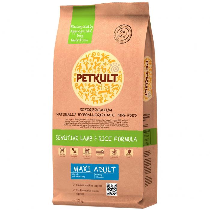 Hrana uscata pentru caini Petkult Sensitive Maxi Adult cu miel si orez 12 kg 0