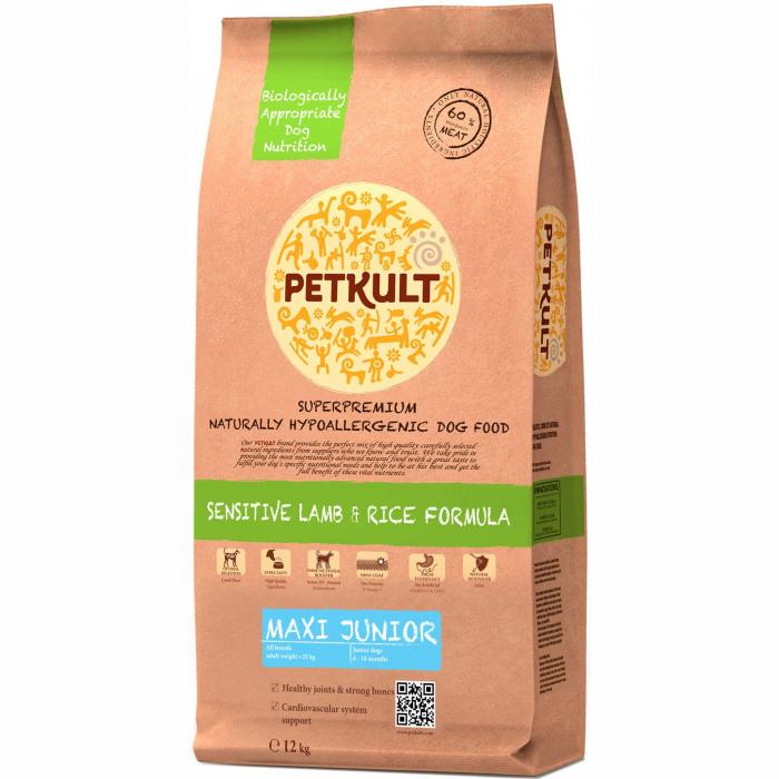 Hrana uscata pentru caini Petkult Sensitive Maxi Junior cu miel si orez 12 kg 0