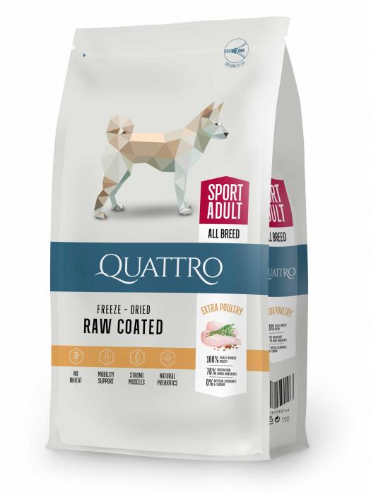 Hrana uscata pentru caini Quattro Dog All Breed Extra Poultry 12kg 0