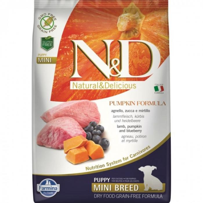 Farmina N&D Dog Grain free Pumpkin Lamb and Blueberry Puppy Mini 2.5kg 0