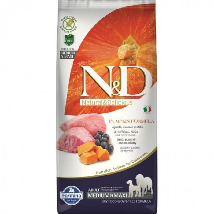 Farmina N&D Dog Grain free Pumpkin Lamb and Blueberry Adult Medium Maxi 12 kg 0