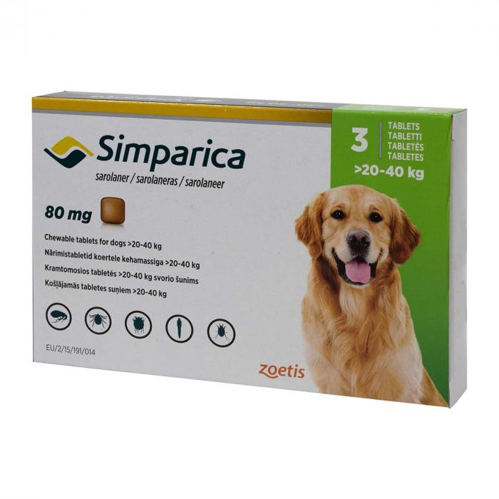 Deparazitare externa pentru caini Simparica 80mg 20-40 kg cutie cu 3 tablete 0