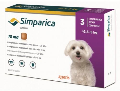 Deparazitare externa pentru caini Simparica 10mg  2.5-5 kg cutie cu 3 tablete 0