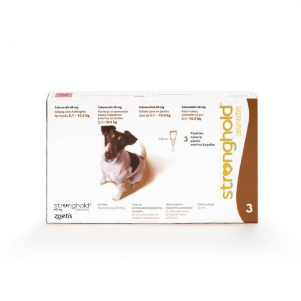Deparazitare externă și internă pentru câini de 5-10 kg - Stronghold 60mg cutie cu 3 pipete 0