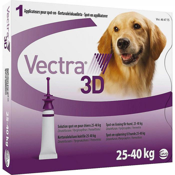 Deparazitare externă pentru câini VECTRA 3D DOG 25-40 KG cutie cu 3 pipete 0