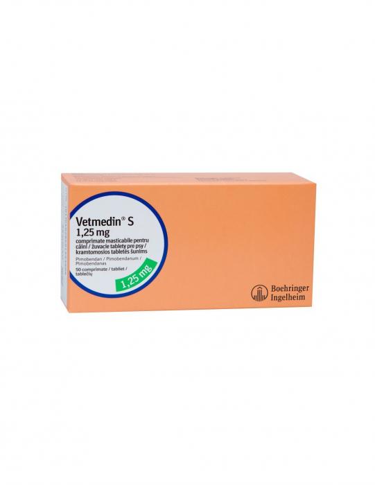 Vetmedin 1.25 mg cutie cu 50 de tablete masticabile 0