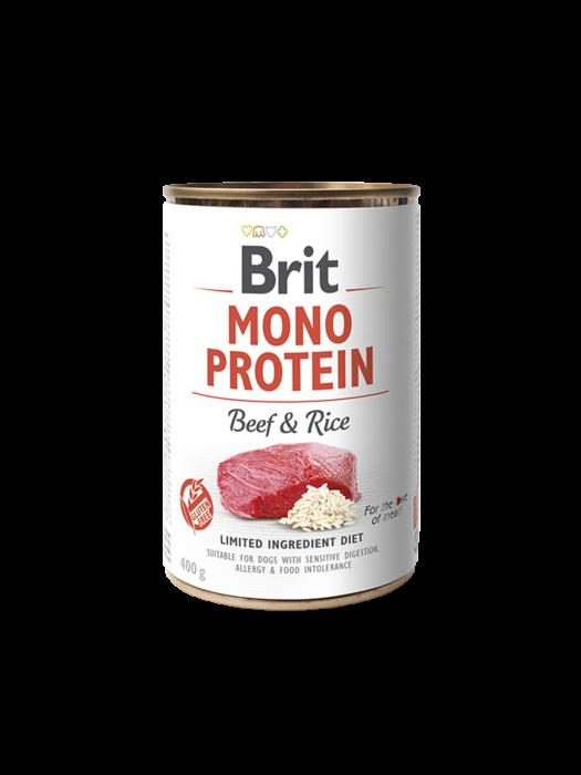 Hrană umedă pentru câini Brit Mono Protein Vită și Orez Brun 400g [0]