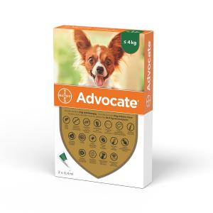 Deparazitare externa caini, Advocate Dog 0-4 kg  3 pipete0
