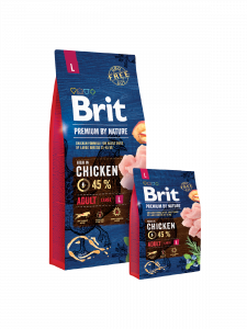 Hrana uscata pentru caini Brit Premium Adult L 15 kg