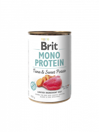 Hrană umedă pentru câini Brit Mono Protein Ton și cartofi dulci  400g0