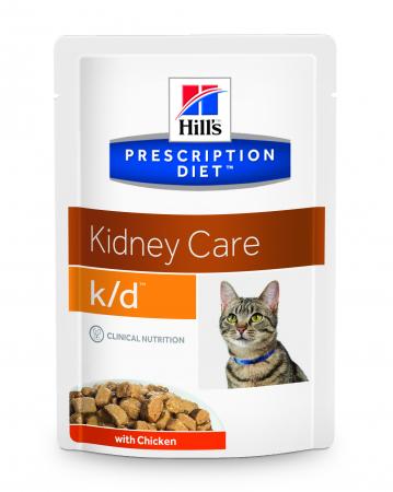 Hrană umedă dietă pentru pisici Hills K/D Feline cu pui - plic 85g [0]