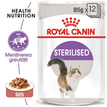 Royal Canin Sterilised Adult hrana umeda in sos pisica sterilizata, 12 x 85 g0