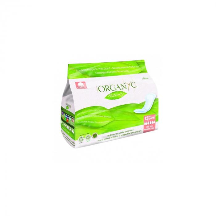 Absorbante intime din bumbac 100% organic, pentru perioada de dupa nastere 12 buc Organyc [0]