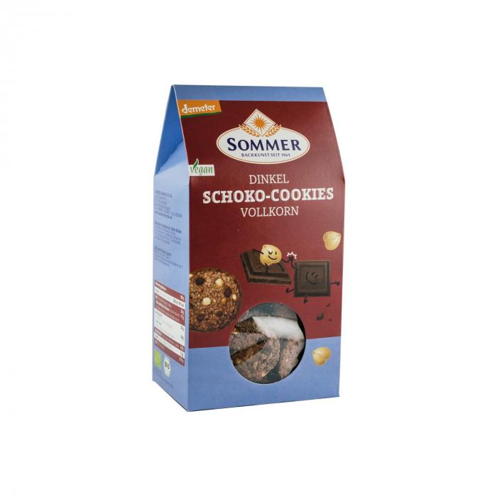 Biscuiti BIO din faina de grau spelta cu ciocolata amaruie si alune, Demeter, 150 g [0]