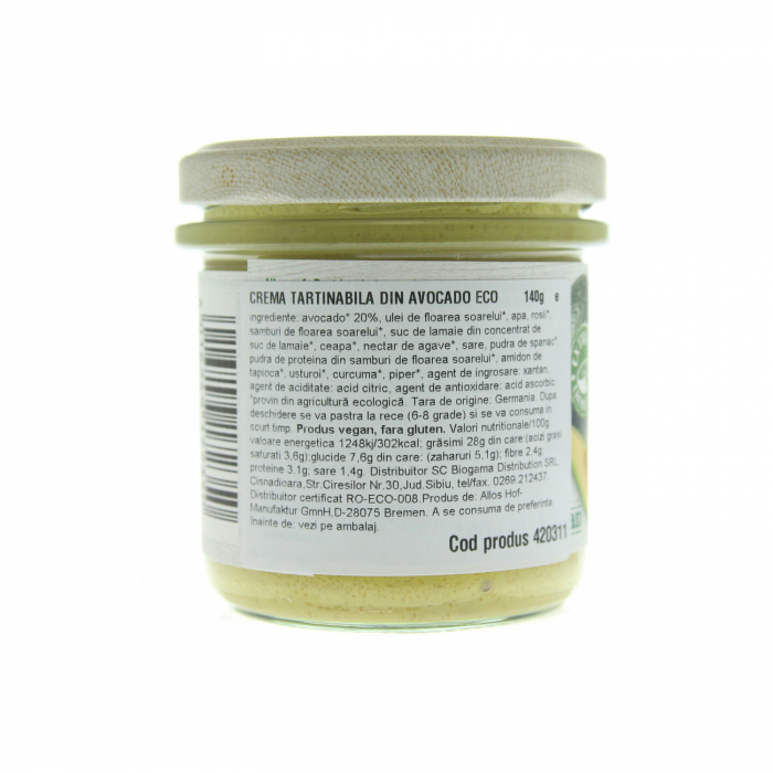Crema tartinabila din avocado FARA GLUTEN 140g [1]