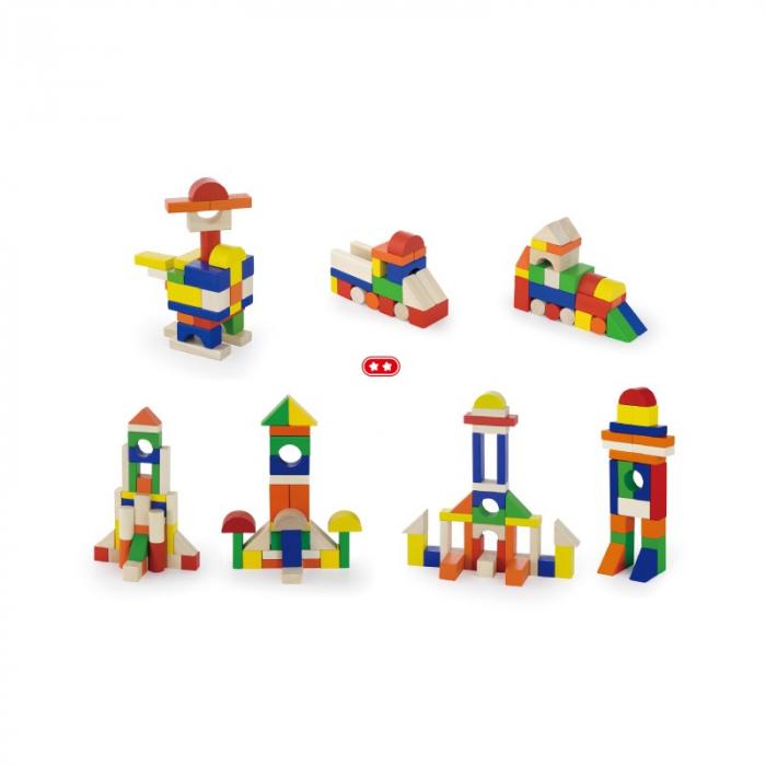 Cuburi de construit din lemn, colorate, 2.5 cm, 100 buc [2]