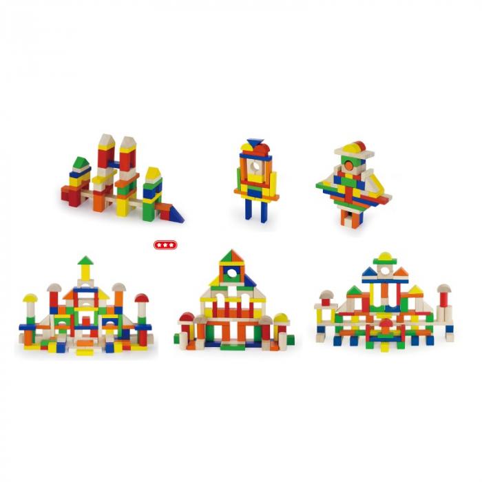 Cuburi de construit din lemn, colorate, 2.5 cm, 100 buc [3]
