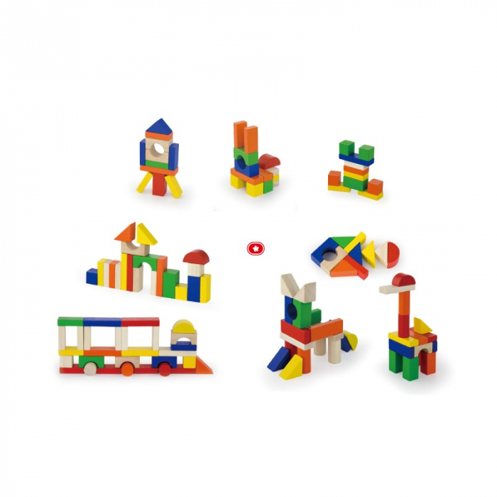 Cuburi de construit din lemn, colorate, 2.5 cm, 100 buc [1]