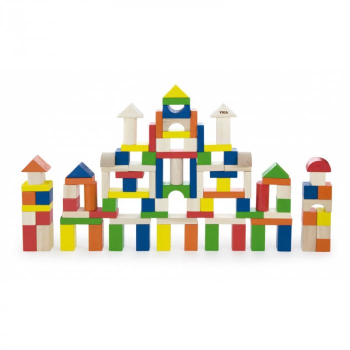 Cuburi de construit din lemn, colorate, 2.5 cm, 100 buc [0]