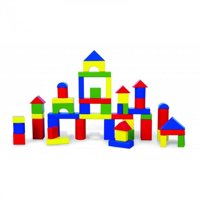 Cuburi de construit din lemn, colorate, 3.5 cm, 50 buc [0]