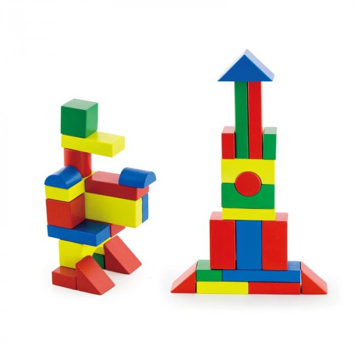 Cuburi de construit din lemn, colorate, 3.5 cm, 50 buc [1]