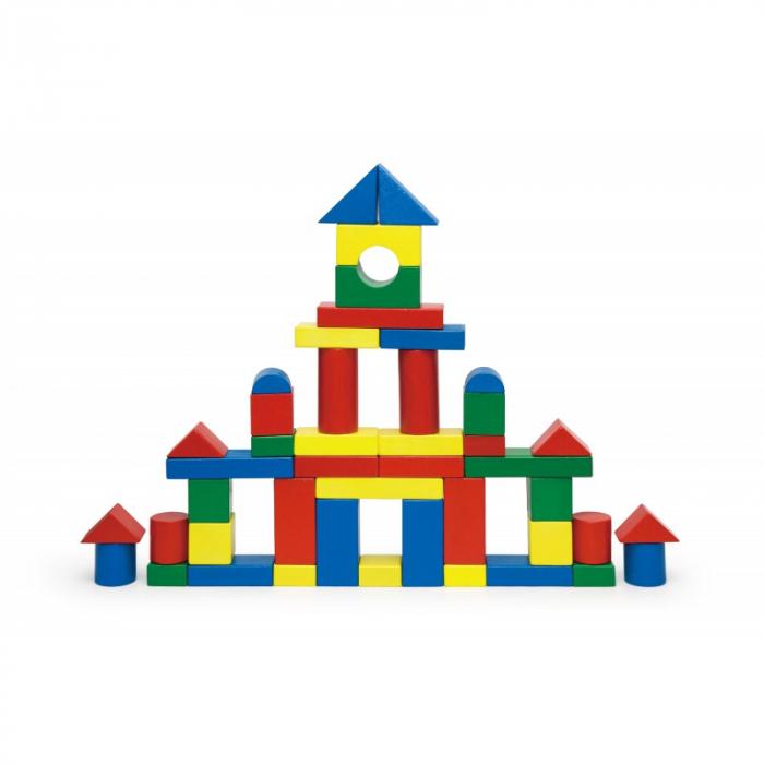 Cuburi de construit din lemn, colorate, 3.5 cm, 50 buc [3]