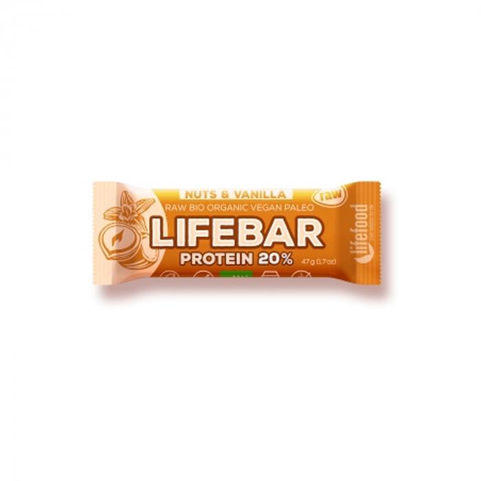Lifebar baton proteic cu nuci si vanilie raw BIO 47g [0]