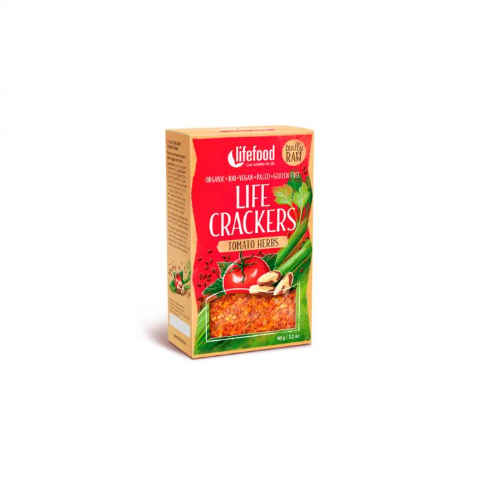Lifecrackers cu rosii si ierburi raw BIO FARA GLUTEN 90g [0]