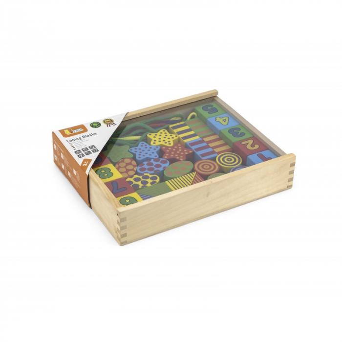 Margele mari din lemn de insirat, cu forme, cifre si culori [4]