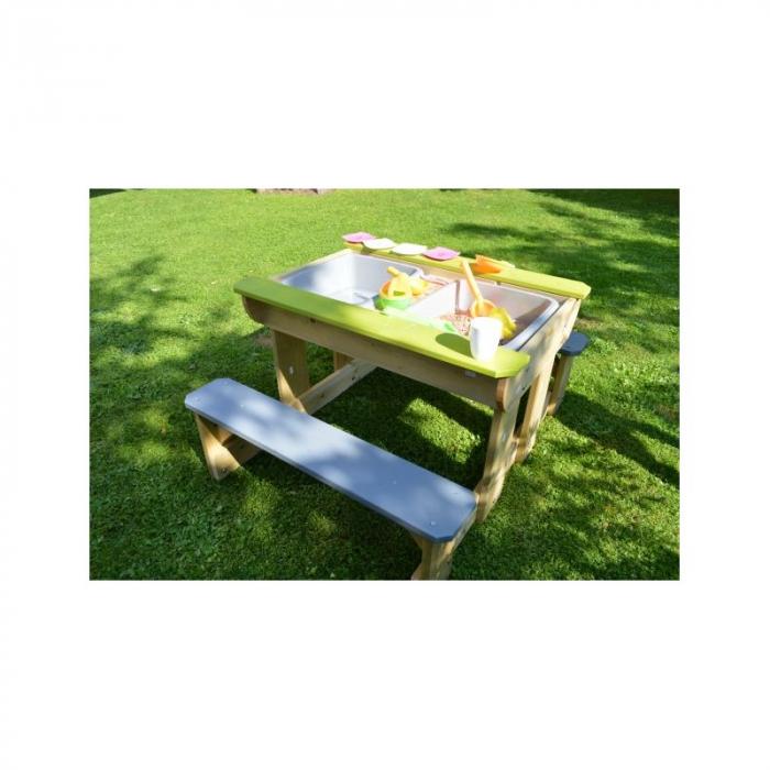 Masa de picnic senzoriala T2 Deluxe cu bancute si loc pentru nisip si apa [0]