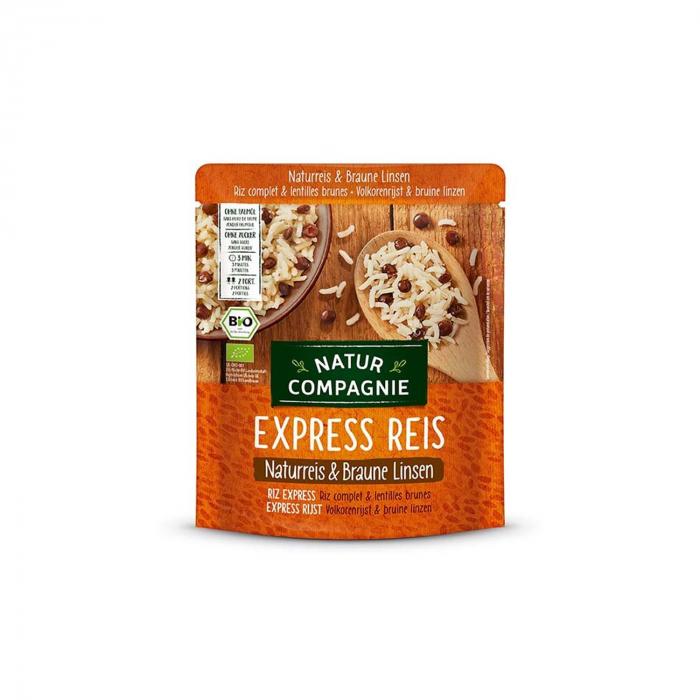 Orez BIO integral si linte bruna, Express Reis, 250 g Natur Compagnie [0]