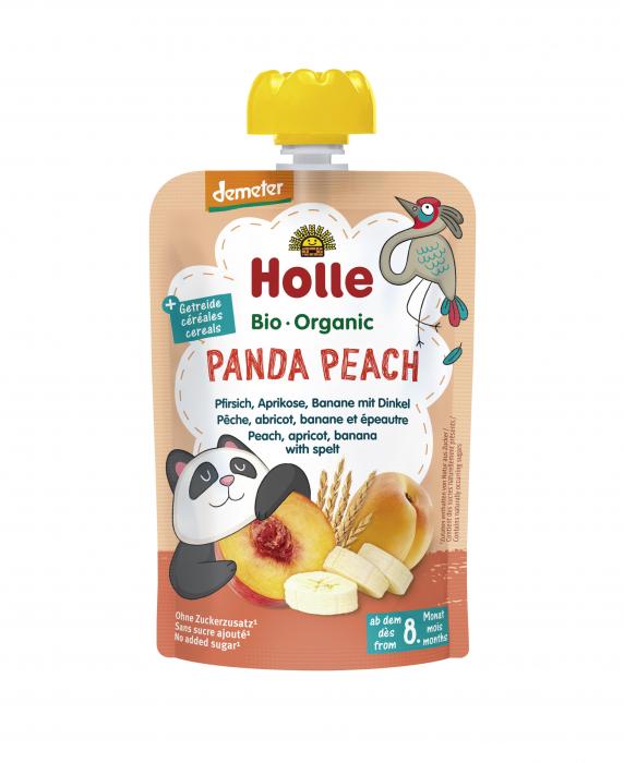 Panda Peach - Piure BIO de piersici, caise si banane, cu fulgi de grau spelta 100g [0]