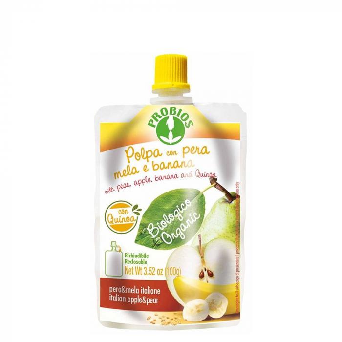 Piure de fructe - pere, banane, mere si fulgi de quinoa 100g [0]