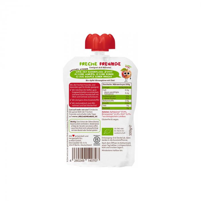 Piure ecologic de mere, pere si scortisoara 100g [1]