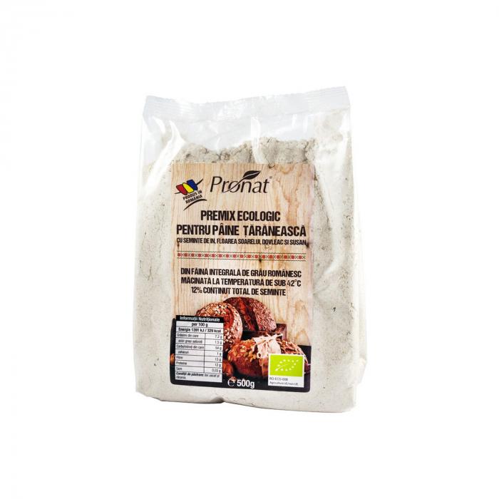 Premix BIO pentru paine taraneasca cu seminte de in, floarea soarelui, dovleac si susan, 500g [0]