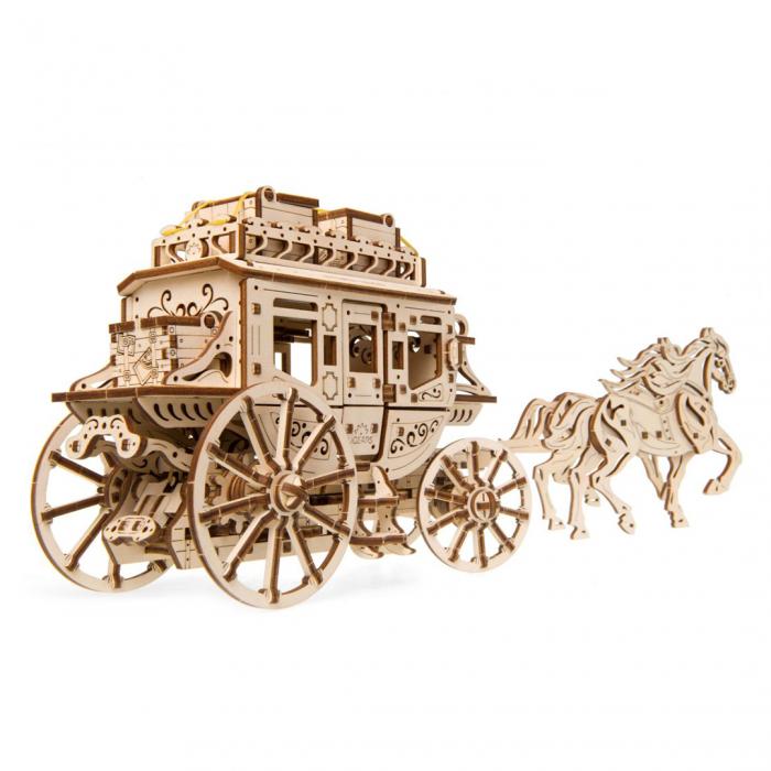 Puzzle 3D din lemn - Trasura cu cai [0]