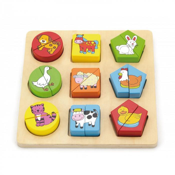 Puzzle din cuburi din lemn cu animale [2]