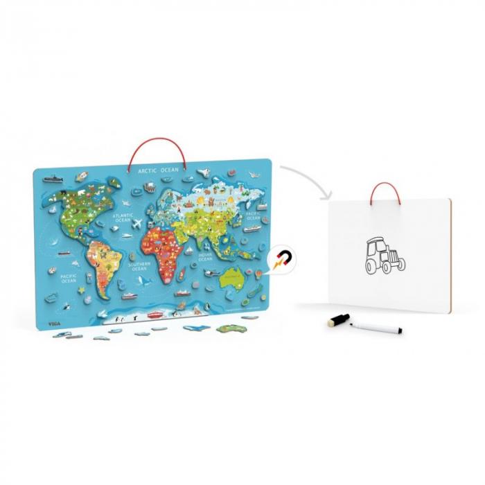 Puzzle magnetic Harta lumii si tabla de scris [2]