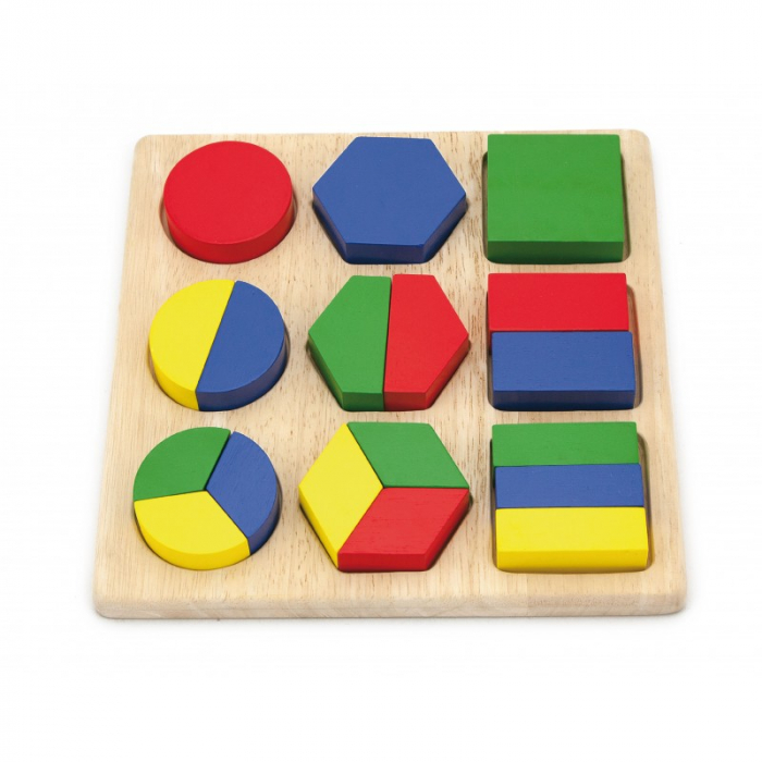Puzzle sortator cu forme geometrice si fractii [3]
