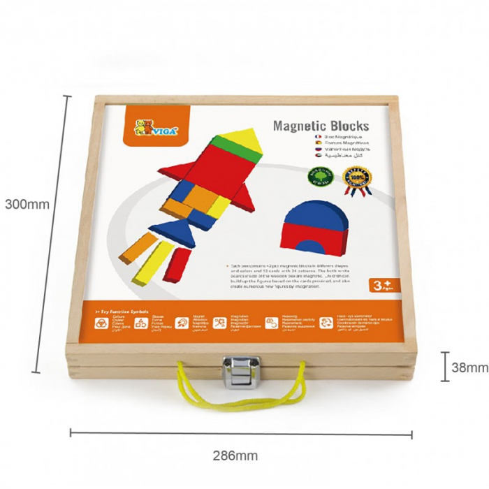 Set magnetic - forme geometrice din lemn cu cutie [4]