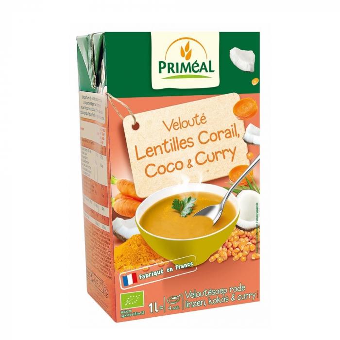Supa crema cu linte rosie, lapte de cocos si curry 1L [0]