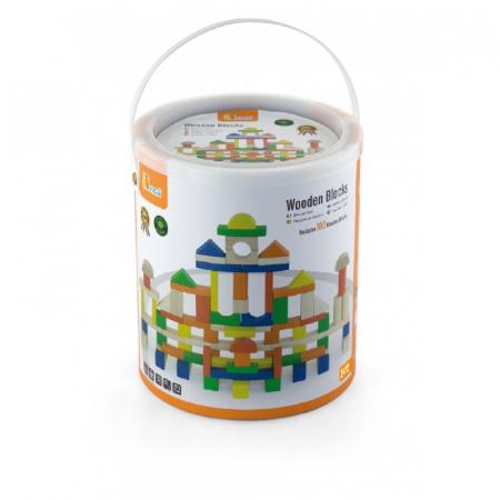 Cuburi de construit din lemn, colorate, 2.5 cm, 100 buc [4]