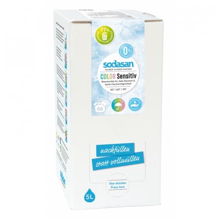 Detergent BIO lichid rufe albe si color sensitiv hipoalergen 5l Sodasan [1]