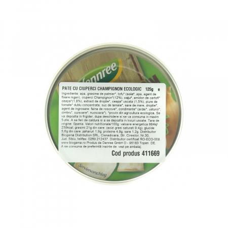 Pate cu ciuperci champignon BIO Dennree 125g [1]
