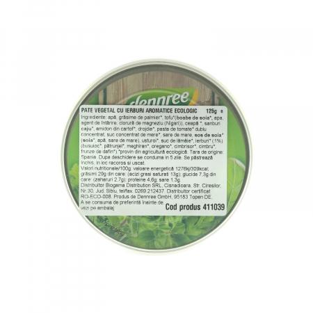 Pateu vegetal BIO cu ieburi aromatice Dennree 125g [1]