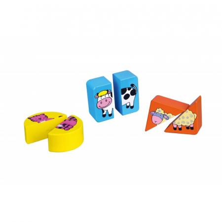 Puzzle din cuburi din lemn cu animale [0]